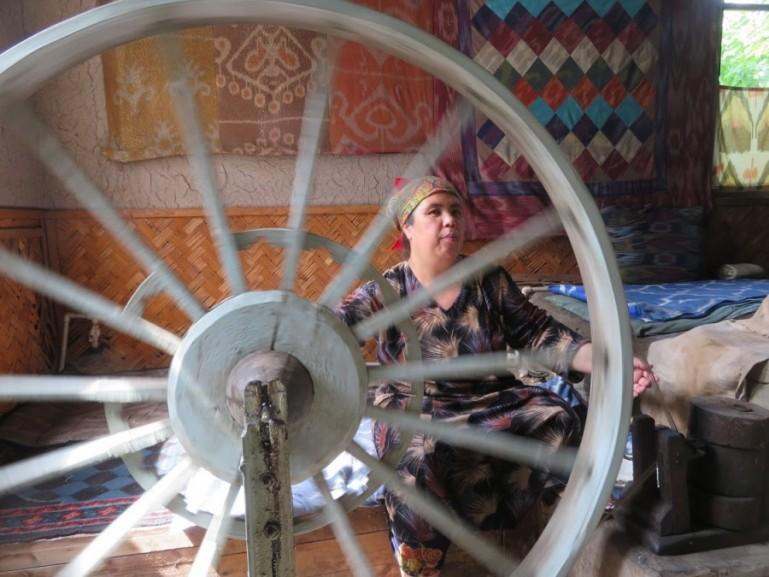 Silk factory in Margilon in the Fergana Valley in Uzbekistan