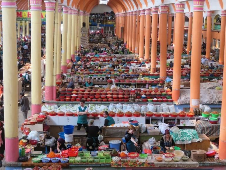 The Panchshanbe bazaar in Khujand Tajikistan