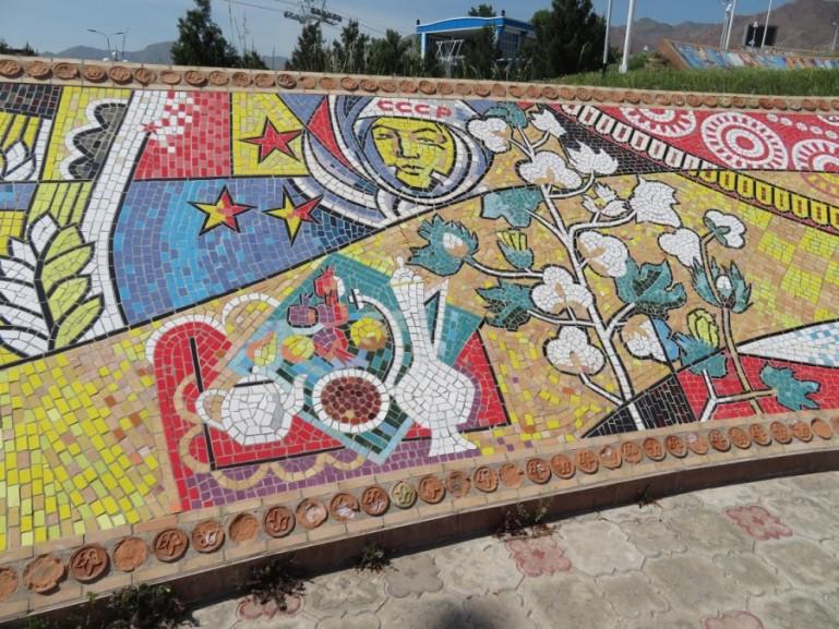 Mosaics in the Somoni park of Khujand city