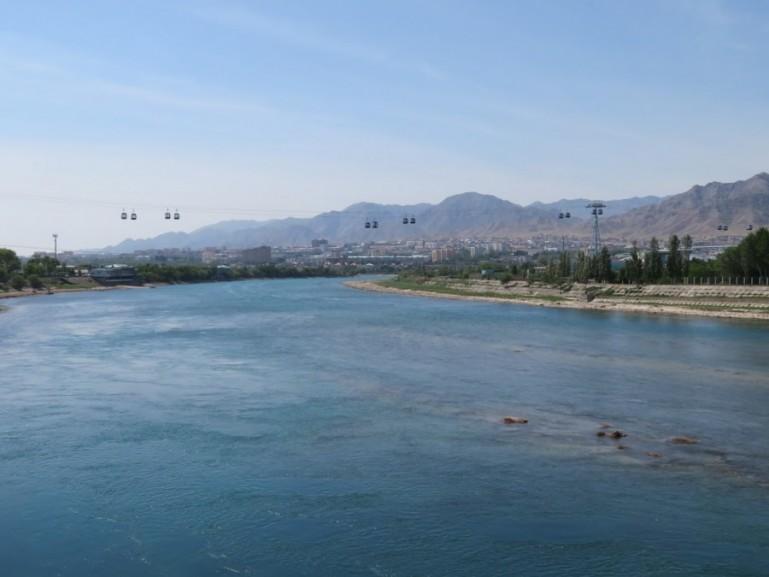 Syr Darya river in Khujand Tajikistan