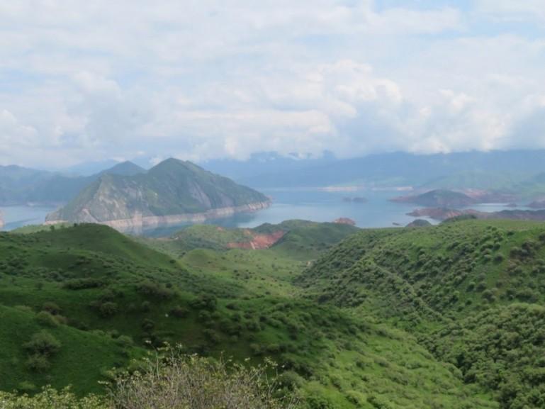 Nurek lake viewpoint on the Pamir highway Tajikistan