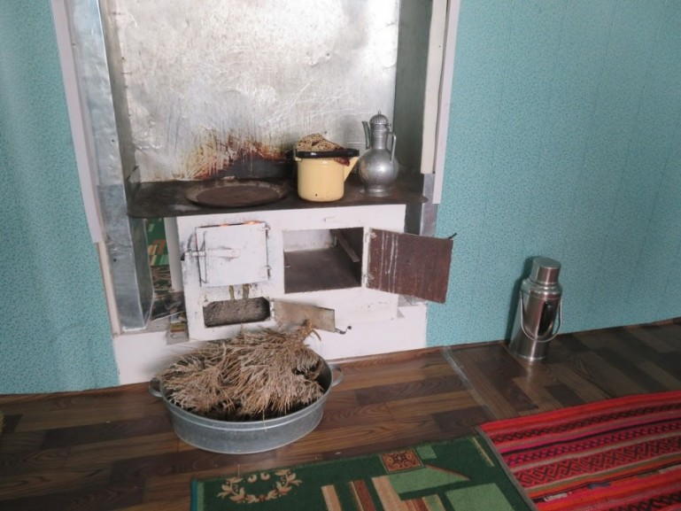 A simple kitchen in a guesthouse in Alichur on the Pamir highway Tajikistan