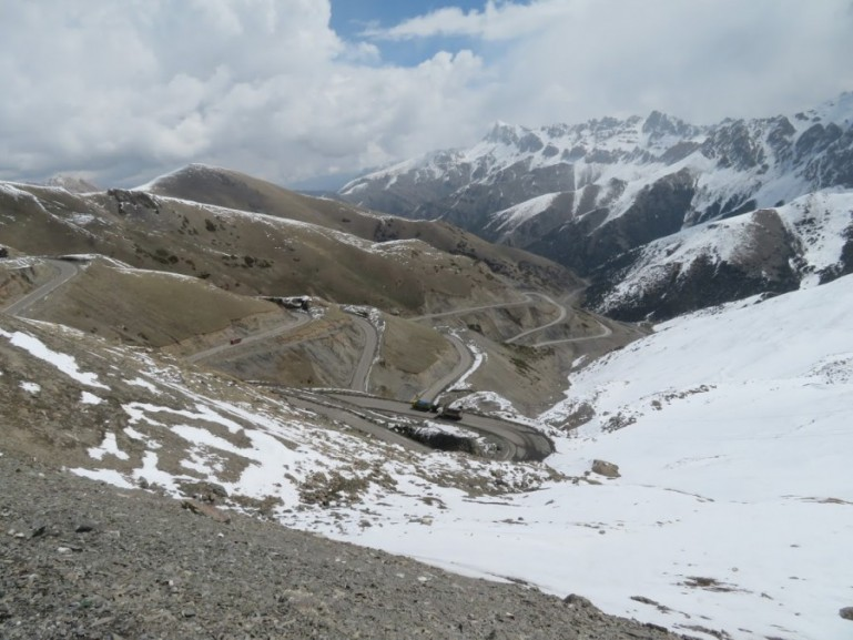 The road from Osh to Sary Mogul in Kyrgyzstan