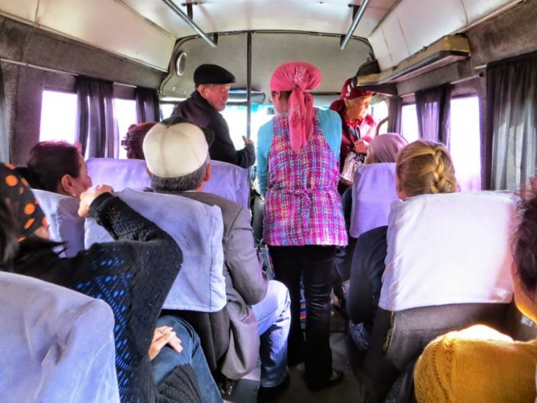 Marshrutka in Kyrgyzstan on the way to Karakol
