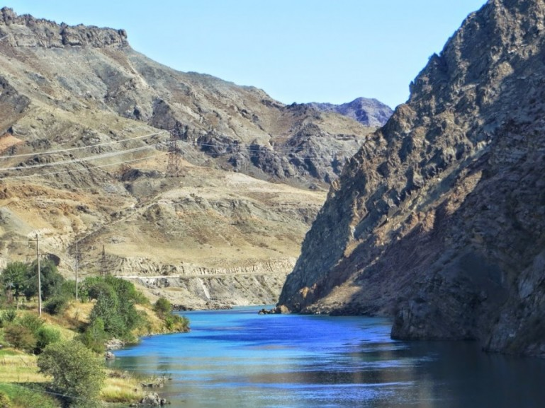 The naryn river at the road from Bishkek to Osh Kyrgyzstan