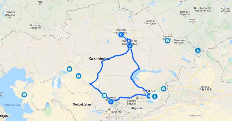Interactive map of a 10 day Kazakhstan itinerary