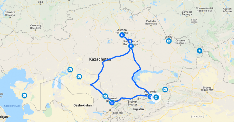Interactive map of a 10 day Kazakhstan itinerary