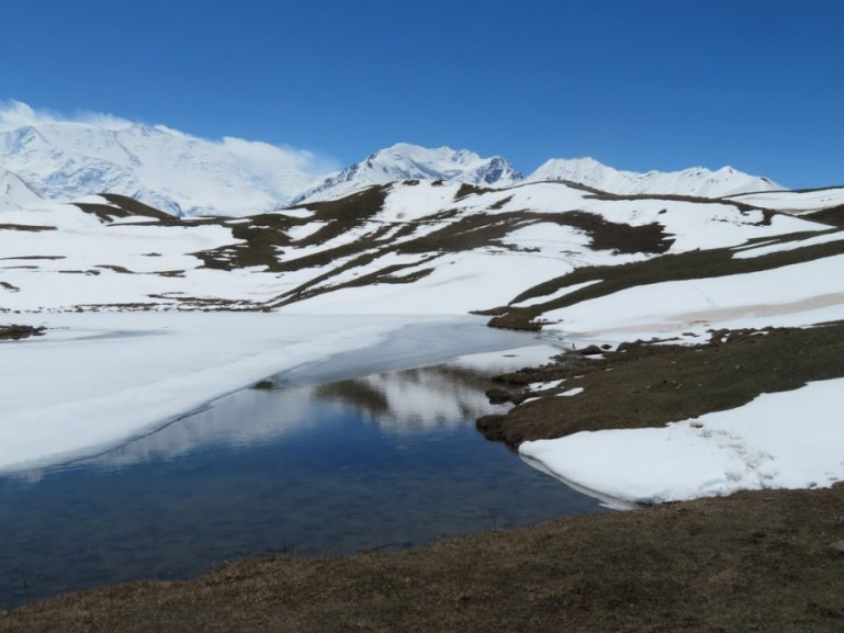 Tulpar lake in the Alay mountains in Kyrgyzstan