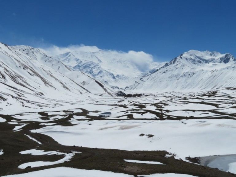 View on Lenin Peak basecamp in the Alay mountains in Kyrgyzstan