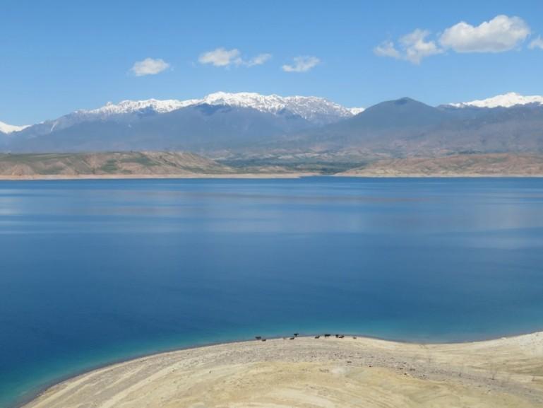 Lake Karakol on the way from Bishkek to Osh in Kyrgyzstan