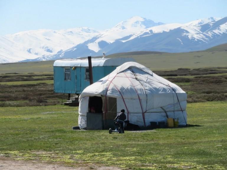 Yurt in the Suusamyr valley Kyrgyzstan