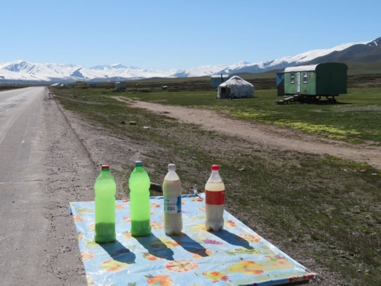 Kymyz on the road from Bishkek to Osh. Make sure you try Kymyz when you travel in Kyrgyzstan