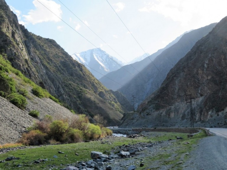 The road from Bishkek to Osh in Kyrgyzstan