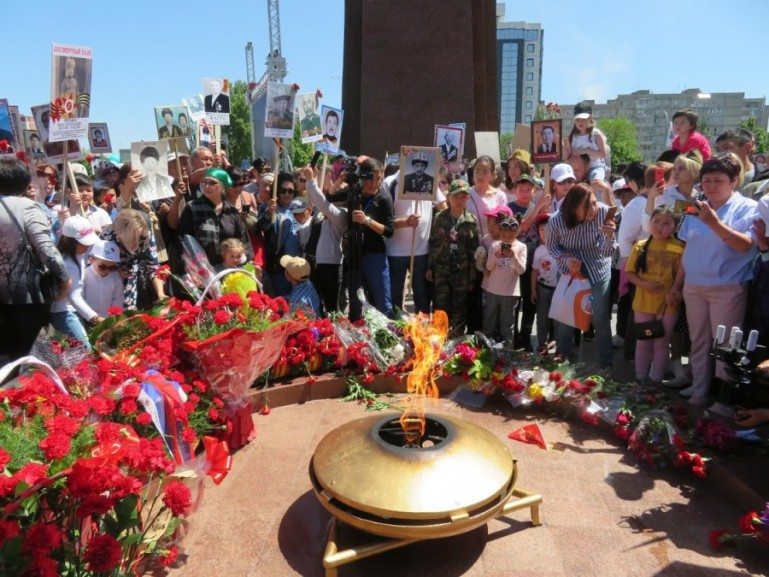 The victory moment in Bishkek Kyrgyzstan during victory day