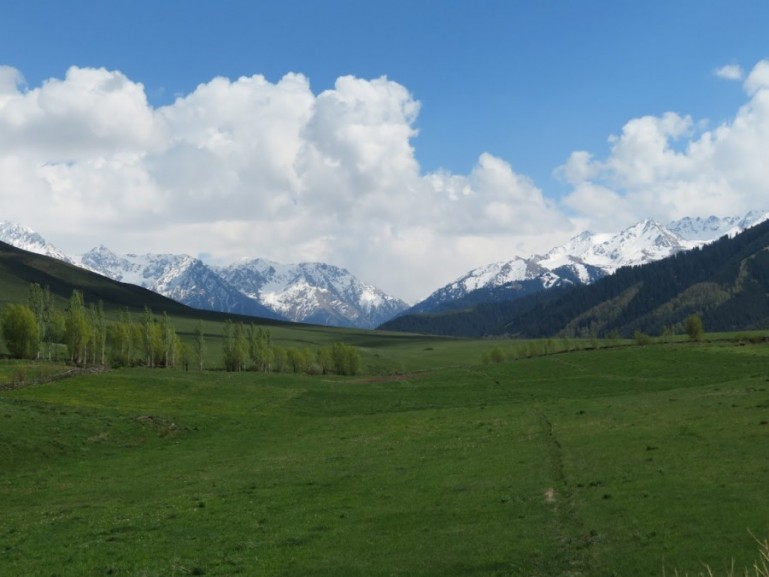 Hiking near Ak Suu Arboretum near Karakol Kyrgyzstan