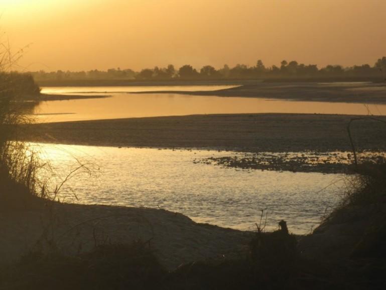 Sunset over Karnali river