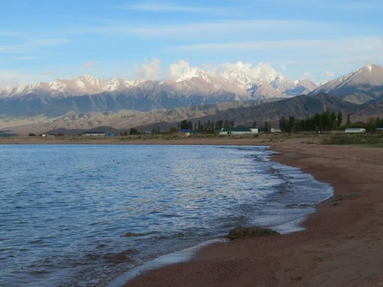 Tosor beach at lake Issyk kul in Kyrgyzstan