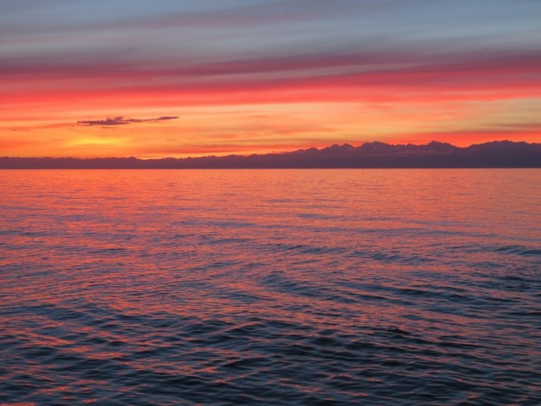 Sunset at lake Issyk kul in Kyrgyzstan