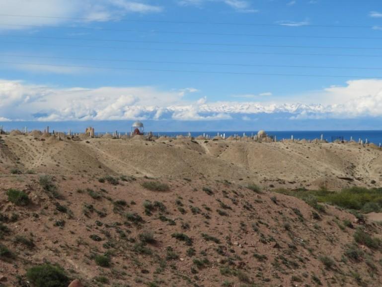 Panorama view over lake Issyk kul near Bokonbaevo Kyrgyzstan