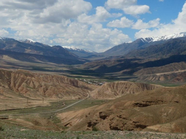 The road from Kochkor to Song kul lake in Kyrgyzstan
