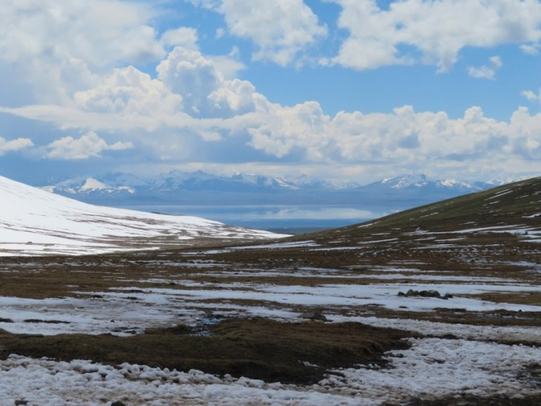 Snow on the road from Kochkor to Song kul lake in Kyrgyzstan