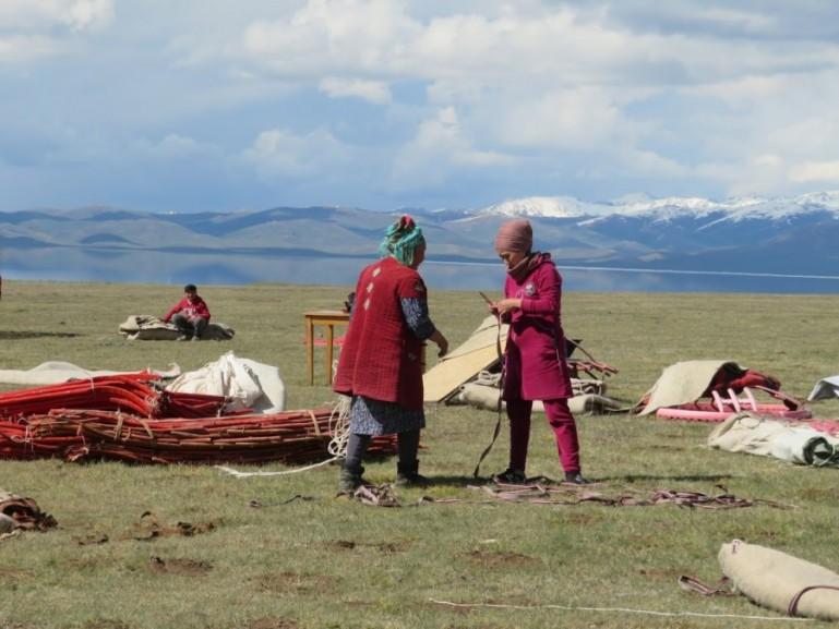 Setting up yurts at Song kul lake in Kyrgyzstan