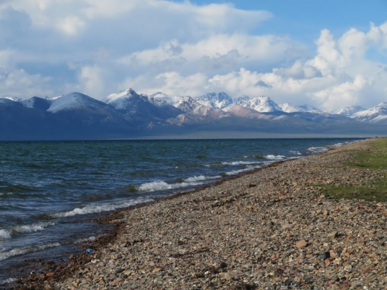 The shore of Song kul lake in Kyrgyzstan