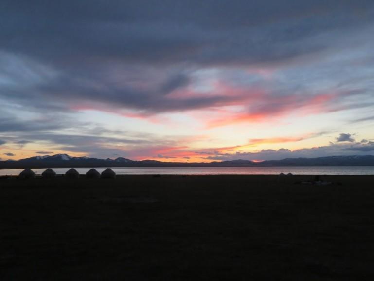 Sunset at Song kul lake in Kyrgyzstan