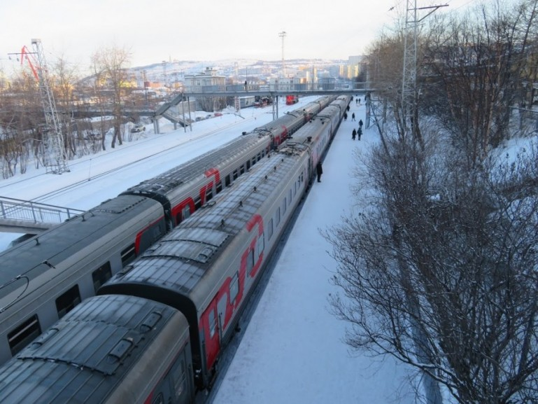 The St Petersburg to Murmansk train at Murmansk station