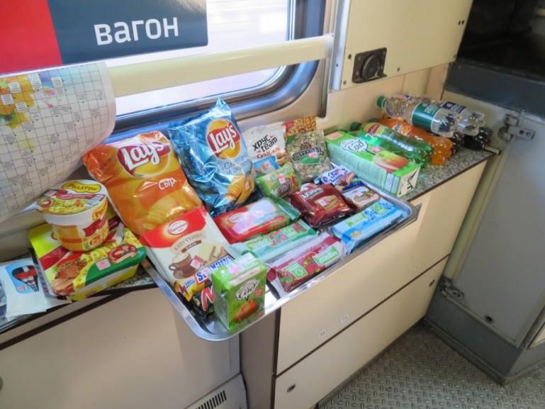 Snacks for sale inside the Arktika train