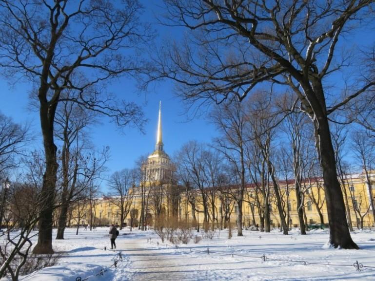 Admiralty in St Petersburg in winter
