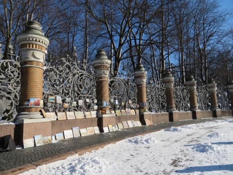Mikhailovski garden in St Petersburg in winter