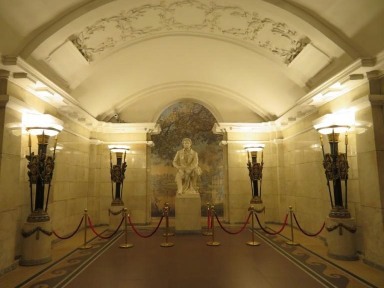 Pushkin statue at Pushkinskaya metro station on the St Petersburg metro tour