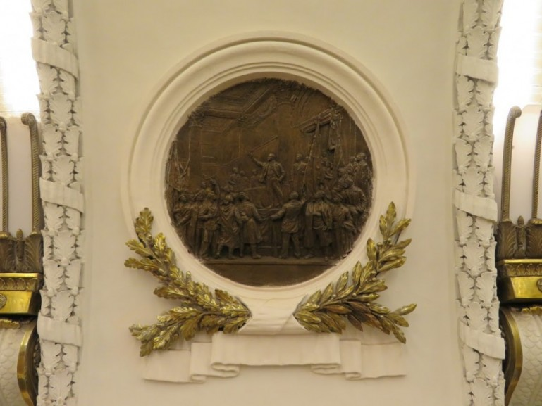 Lenin bas relief at Ploschad Vosstaniya metro station on the St Petersburg metro tour
