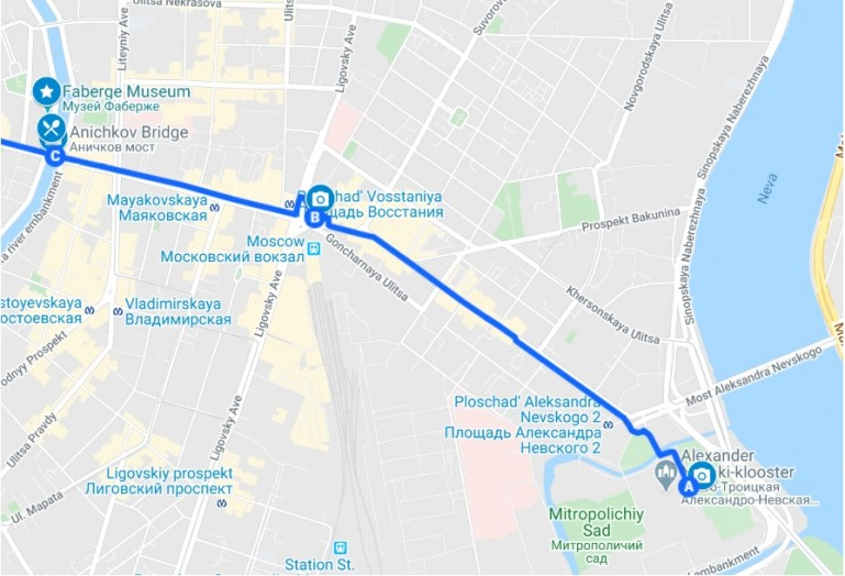 Interactive map of the self guided free walking tour St Petersburg