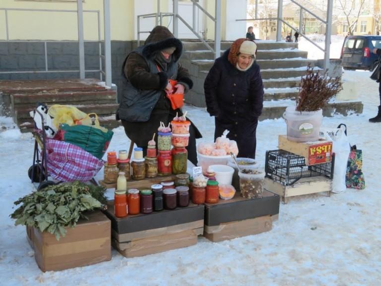 Ladies selling souvenirs in Sergiev Posad Russia