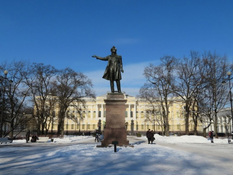 Pushkin statue in St Petersburg