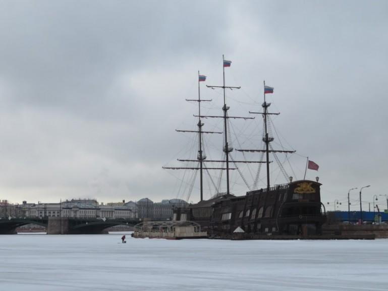 Frozen Neva in St Petersburg in winter