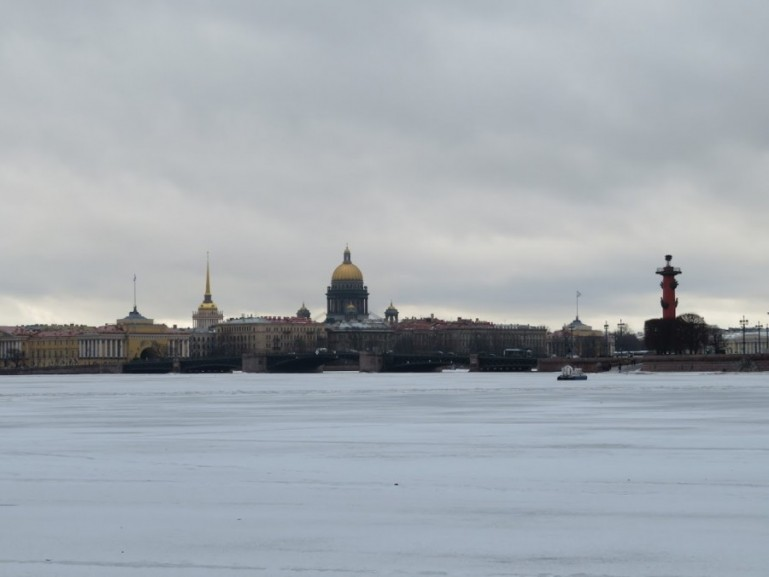 View on St Isaac cathedral in St Petersburg in winter