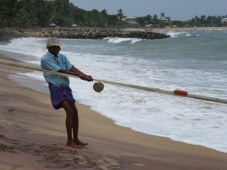 Fishermen at Tangalle on the Southern Coast of Sri Lanka