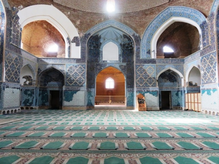 interior of the blue mosque in Tabriz