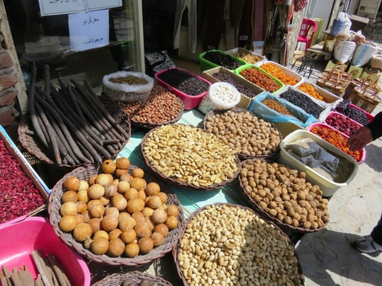 Nuts and dried fruits at a market in Kandovan