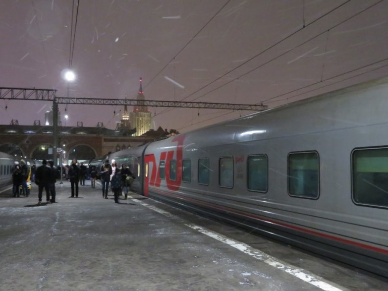 The train from moscow to Kazan at Kazanski station in Moscow