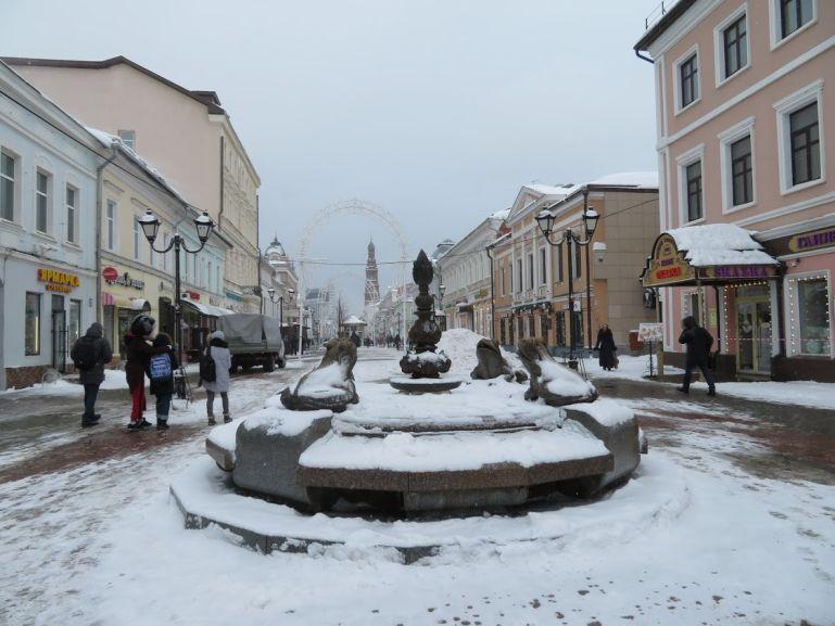 Bauman street in Kazan in winter