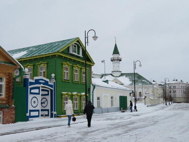 The old Tatar settlement in Kazan in winter