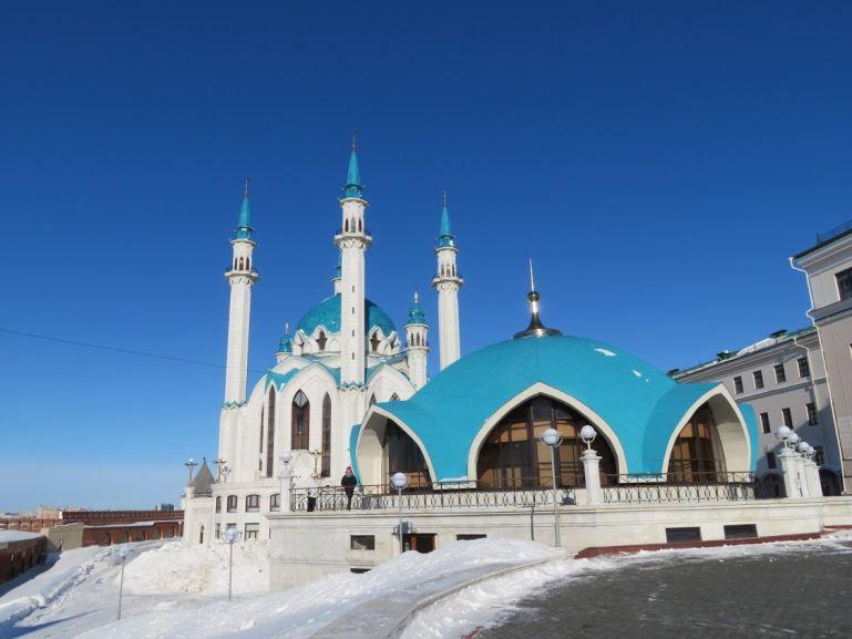 The Qul sharif mosque in Kazan in winter