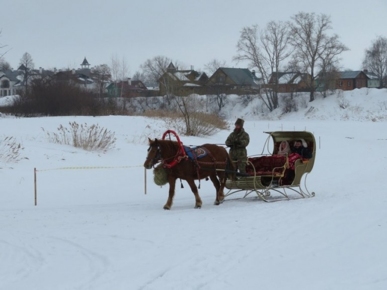 Sleigh riding on Kamenka river