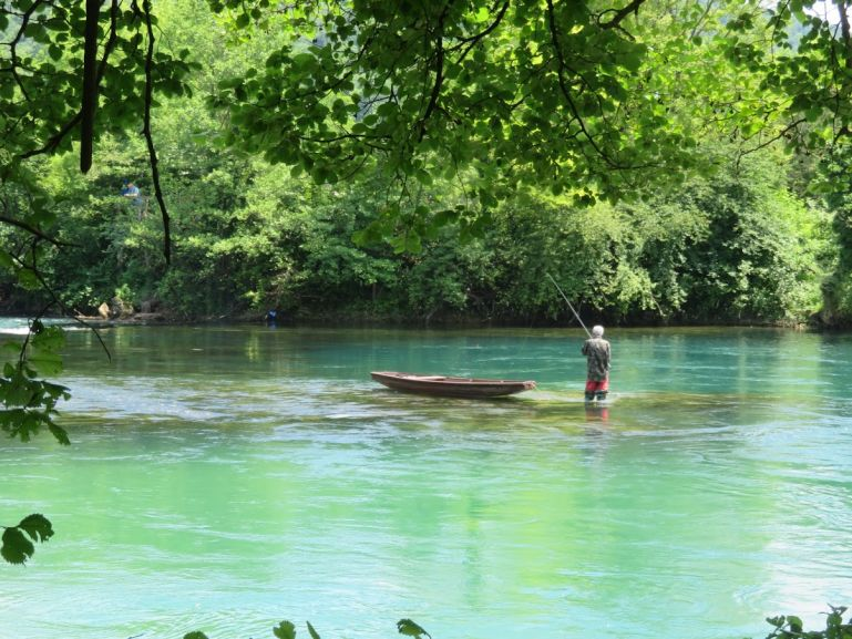 Fly fishing at the Una river in Bosnia