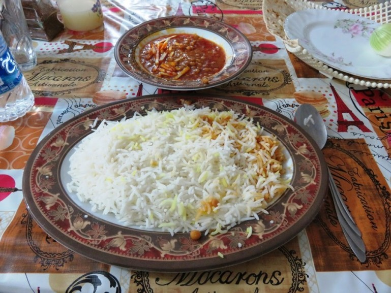 Geymeh is a persian stew with yellow split peas. Served with rice and fries