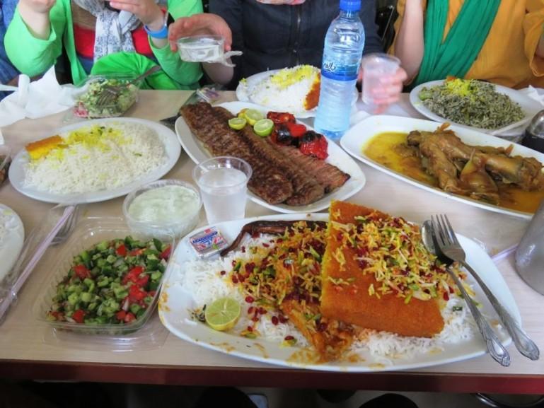 A filling meal of Persian food at Moslem restaurant in Tehran Grand bazaar